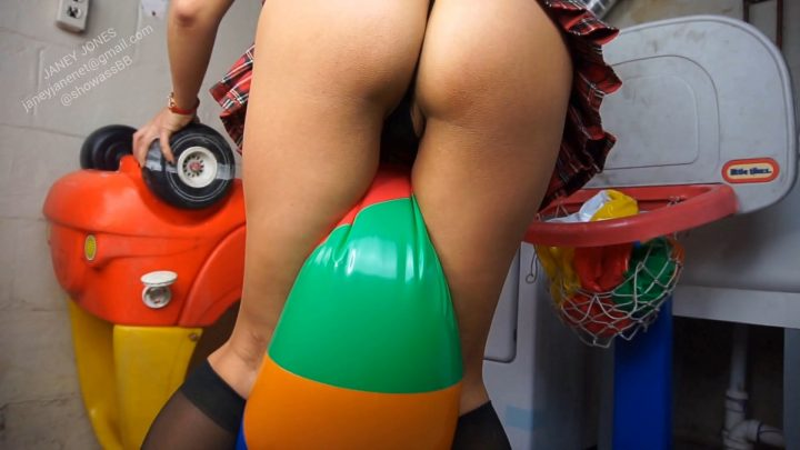 Naughty Babysitter Beach Ball Pop Pt. 2 – High Def Pillow Humping – Janey Jones