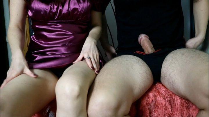 HJ Goddess TEASE – Mom's black satin panties