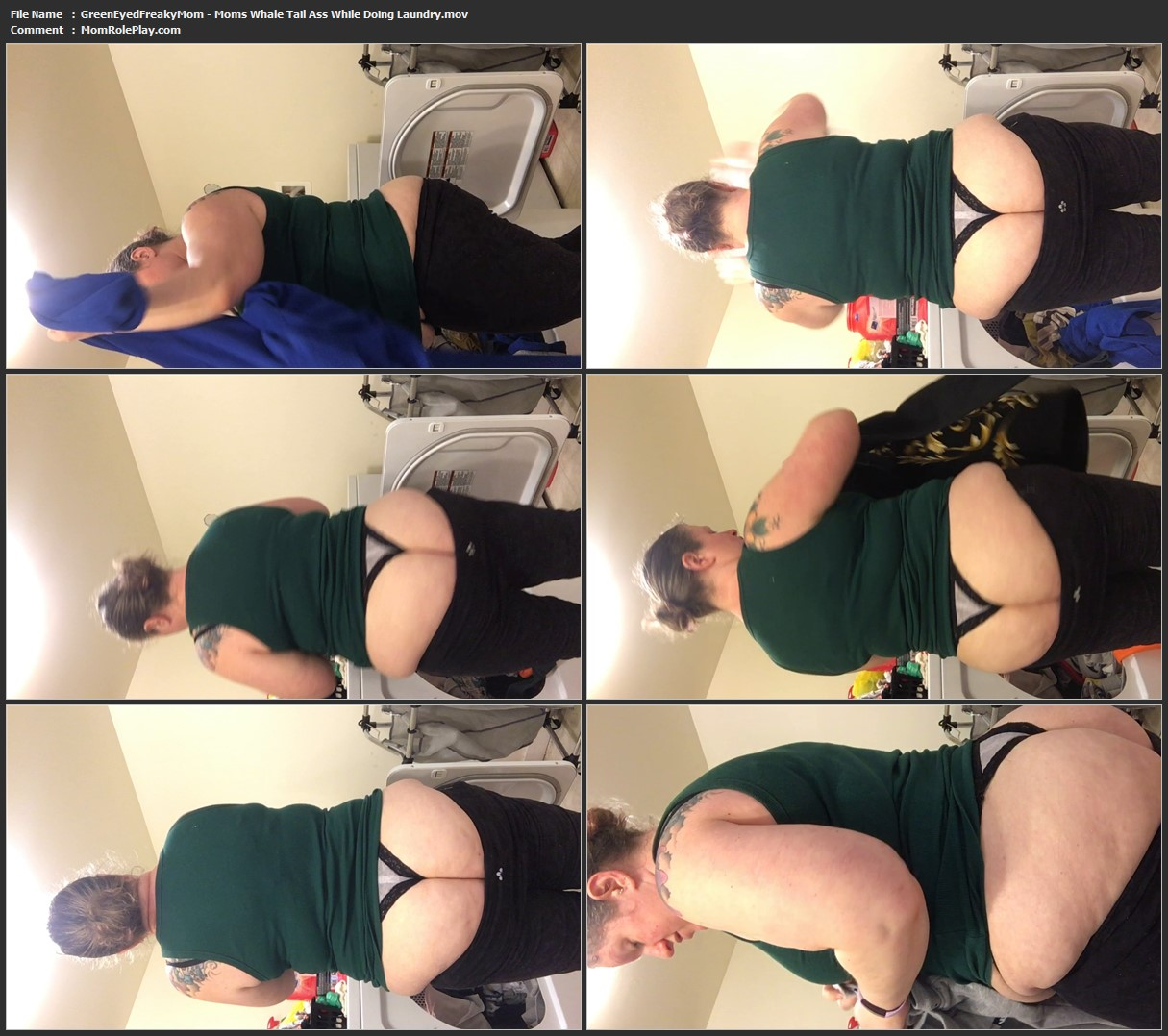 GreenEyedFreakyMom - Moms Whale Tail Ass While Doing Laundry