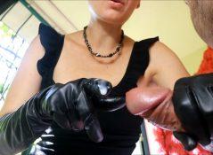 HJ Goddess Tease - Handjobs in leather glove from mom